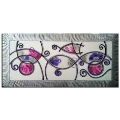 Cuadro abstracto rosa morado 1084