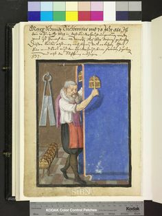 Amb 317b.2 ° folio 106 verso 1629 The brother roughens with the card with both the right and to the left on the rod run, long droopy blue cloth. Back on the wall is the big draper scissors, stuck on the ground in a stand seven carding