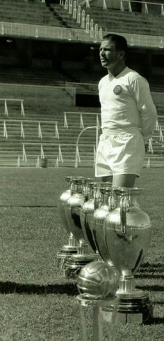 Ferenc Puskas with replicas of the 5 European Cups he won with Real Madrid