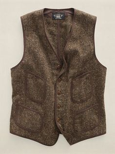 Jameson Work Vest -Vintage-inspired vest crafted from rustic wool donegal tweed. Finished with corozo buttons.