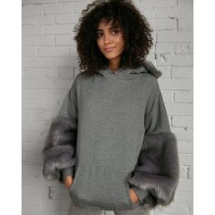 Express Faux Fur Hoodie (385 RON) ❤ liked on Polyvore featuring tops, hoodies, grey, express tops, gray hoodie, grey hoodie, gray hooded sweatshirt and express hoodies