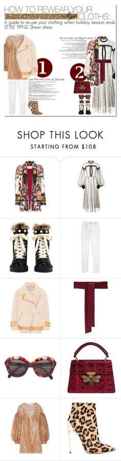 """how to rewear your nye cloths: STYLE TIP N2"" by esterp ❤ liked on Polyvore featuring Balmain, Etro, Jill Stuart, Gucci, Vetements, Acne Studios, Sara Roka, CÉLINE, Zimmermann and Casadei"