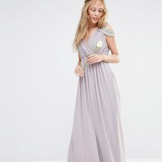 Gray off-the-shoulder maxi bridesmaid dress