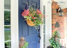 Patriotic flower basket decoration for your door