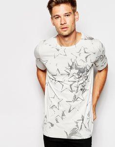 Imagen 1 de Camiseta devoré de corte slim con estampado de estrellas por toda la prenda 73 de Pepe