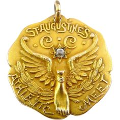 Large 1909 St. Augustine's Boston Athletic Meet G.F. Medal with Sapphire ~ 07/2017 ~ $64.00 Buy it NOW!!  by Dieges & Clust