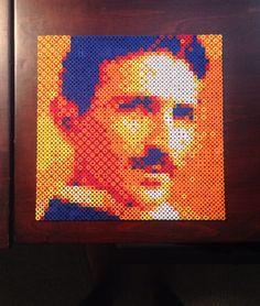 Tesla portrait perler beads by DearGawd