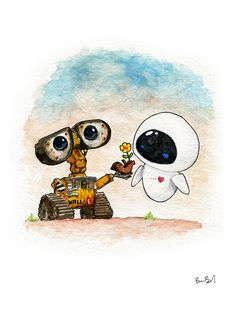 Wall-E and eve inspired watercolor print wall e eve, disney wallpaper, wall Cute Disney Wallpaper, Cute Cartoon Wallpapers, Wallpaper Iphone Cute, Wall E Eve, Cute Disney Drawings, Cartoon Drawings, Cute Drawings For Her, Cute Pictures To Draw, Adorable Drawings