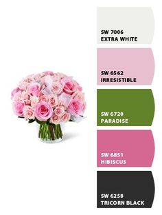 Pretty in pink colour palette from Sherwin Williams Chip It based on the photo.