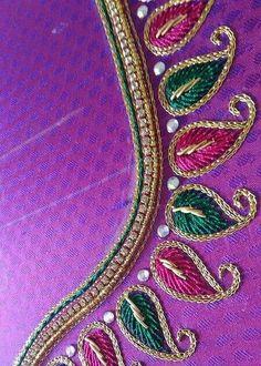 A lovely closeup shot Cutwork Blouse Designs, Embroidery Neck Designs, Simple Blouse Designs, Embroidery Works, Bridal Blouse Designs, Blouse Neck Designs, Embroidery Blouses, Aari Embroidery, Hand Work Blouse Design