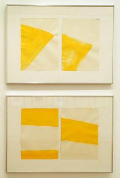 Blinky Palermo, I & II Gelber FluB, 1976; watercolor and graphite on two sheets of drawing paper mounted on cardboard, 12 3/8 x 9 5/16 in. (drawing, each)