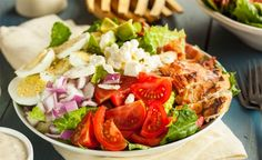 Chicken Cobb Salad. A hearty main dish salad that can be made ahead, even overnight, and then tossed just before serving.