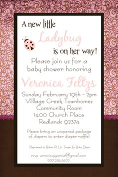 Pink Brown Ladybug Baby Shower Invitation Www Facebook Fabulouseventsandphotos