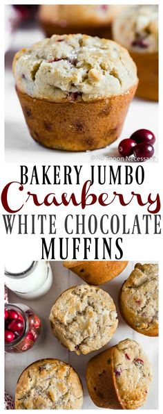 Bakery style jumbo muffins speckled with tart fresh cranberries, packed with sweet white chocolate chips and sprinkled with coarse sugar. These Cranberry & White Chocolate Jumbo Muffins are perfect for breakfast, brunch, snack time or dessert! Breakfast Pastries, Breakfast Bake, Breakfast Recipes, Breakfast Muffins, Muffin Tin Recipes, Cupcake Recipes, Dessert Recipes, Pastry Recipes, White Chocolate Muffins