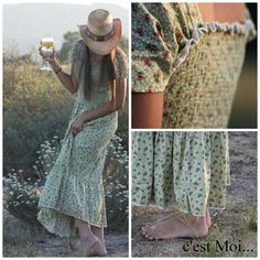Long Romantic Summer Dress/skirt  2 in 1 with Smocked body