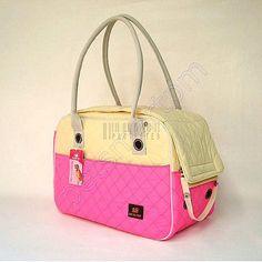 Pink Beige Cotton Pet Carrier Dog Tote Bag Cat Handbag Puppy Purse Pouch 41X22X28CM DD-HM616 $13.50