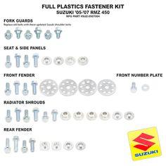 Bolt Plastic Fastener Kit Suzuki RMZ 450 05-07