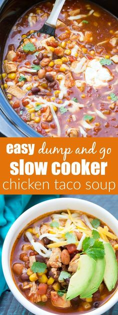 Dump and go (no chopping) easy slow cooker chicken taco soup recipe. A family fa… Dump and go (no chopping) easy slow cooker chicken taco soup recipe. A family favorite, made in your crock pot! Slow Cooker Chicken Tacos, Crock Pot Slow Cooker, Crock Pot Cooking, Crockpot Chicken Taco Soup, Crockpot Meals, Taco Soup With Chicken, Chicken Cooker, Cheese Enchiladas, Tortilla Wraps