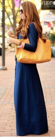 Navy long dress  @theteacherdiva