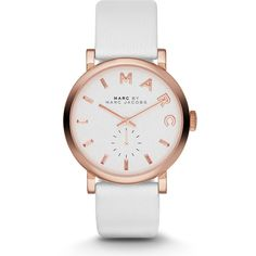 MARC by Marc Jacobs 36mm Baker Rose Golden Leather-Strap Watch ($210) ❤ liked on Polyvore featuring jewelry, watches, accessories, bracelets, relogio, white, stainless steel jewelry, bracelet watches, white jewelry and white wrist watch