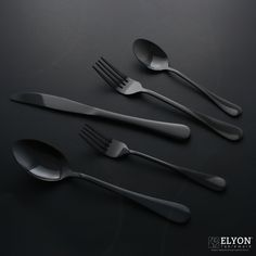 This black reflective stainless steel flatware set is an easy way to add a modern touch to your table.  Find this set and others on our website,    #tableware #silverware #stainlesssteel #flatware #cutlery #plates #cups #candles #dinnerset #dinnerware #blackcutlery #goldcutlery #rosegoldcutlery #rainbowcutlery #iridescentcutlery #bluecutlery #led #flamless #pillarcandles #utensils #kitchenware #kitchen #elyontableware