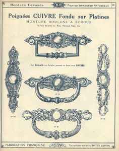 Antique hardware, handles; catalogue qucaillmeubles p23