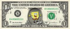 SPONGEBOB SQUAREPANTS on a REAL Dollar Bill Cash Money Collectible Memorabilia by Vincent-the-Artist, $7.77 USD