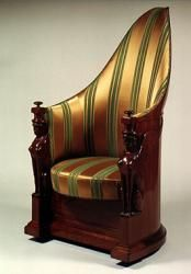 Armchair inspired by Egyptian antiquity, late 18thC French, mahogany & satin, armrests supported by two winged sphinxes.
