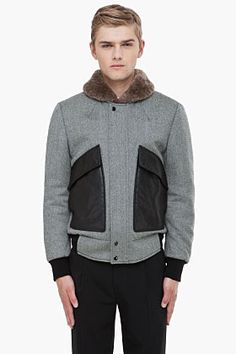 93a049ad38e ALEXANDER MCQUEEN Fur Collar Padded Jacket  1995 Padded Jacket