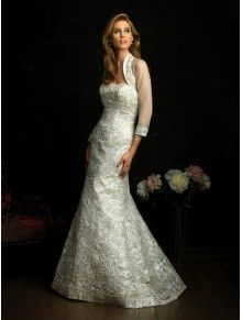 A-line Satin Embroidered Bodice Softly Curved Neckline Sweep Train Wedding Dresses (8661)