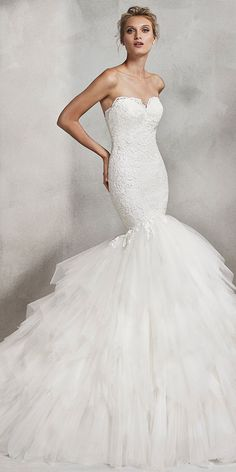Amazing Tulle Sweetheart Neckline Natural Waistline Mermaid Wedding Dress With Lace Appliques & Ruffles