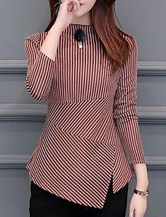 women& going out slim t-shirt - striped crew neck Girls Fashion Clothes, Fashion Dresses, Clothes For Women, Fancy Top Design, Gown Party Wear, Batik Fashion, Sleeves Designs For Dresses, Fancy Tops, Stylish Dresses For Girls