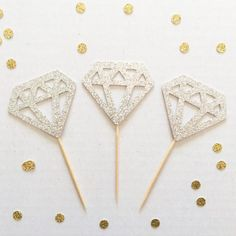 Diamond Ring donuts / Diamond Cupcake Toppers - Set of 12 (Perfect for a bridal shower or wedding)