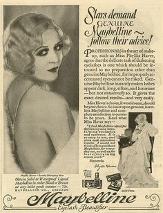 Phyllis Haver for Maybelline in the 1920s