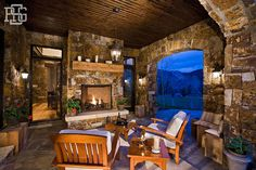 Porch - beautiful - love the stone walls and fireplace - beautiful architectural elements | Robert G. Sinclair Architecture, Inc.