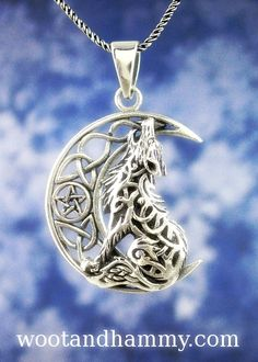 Celtic Wolf Howling at a Crescent Moon Necklace - Even though wolves are now extinct in Ireland, ancient Celtic tribes had a close affinity for them. Pandora Jewelry, Charm Jewelry, Jewlery, Art Deco Jewelry, Jewelry Design, Expensive Stones, Moon Necklace, Pearl Necklace, Dragon Necklace