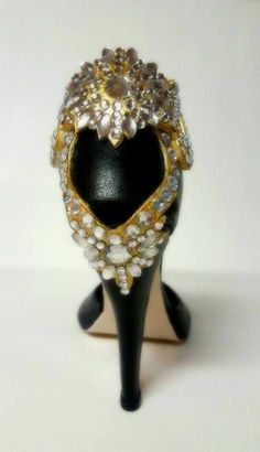 Black and gold bling sugar high heel back
