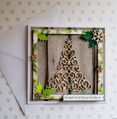 Kartka świąteczna- Choinka w ramce Diy And Crafts, Frame, Cards, Christmas, Painting, Home Decor, Picture Frame, Xmas, Decoration Home