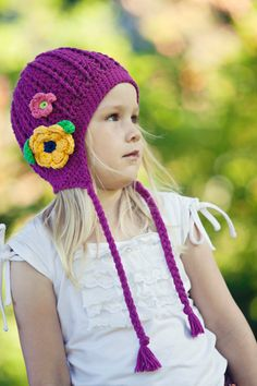 GIRLS ACCESSORIES Knit Toddler girls beanie hat Ear by KriksisLV, $33.00