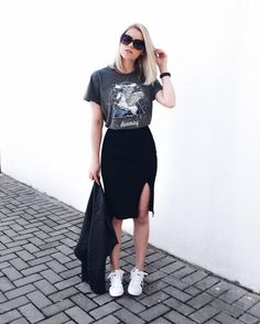 band tee styling idea #black #grunge #outfit