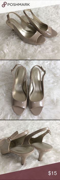 Kelly & Katie champagne peep toe pump Champagne or nude colored peep toe slingback pump. 3 in heel. Worn to one wedding. In very good condition, with the exception of a scuff on the edge of the right heel (shown in photo). Purchased at DSW. Kelly & Katie Shoes Heels