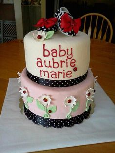 Baby Girl ladybug baby Shower cake.