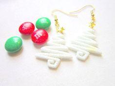 Christmas Tree Earrings, White Christmas Tree, Glittered Christmas Tree.  H 020