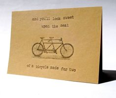 Tandem Engagement Wedding card // eco card by YourMumRang on Etsy, £2.95