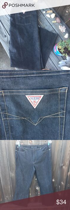 """VTG GUESS DENIM JEANS LOW RISE SZ 32 BELL BOTTOM VTG GUESS DENIM JEANS LOW RISE SZ 32 BELL BOTTOM- WAIST 17"""" inseam 29"""" dark grey- good condition! Guess Jeans Flare & Wide Leg"""