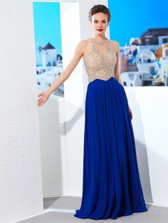 aa90dcb5fad Prom Dresses A-Line Scoop Chiffon Royal Blue Long 2019