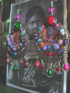 Moon Dance Earrings, Large, Antique Silk Embroidery, Filigree, Beaded, Colourful, Bohemian, Gypsy, Boho