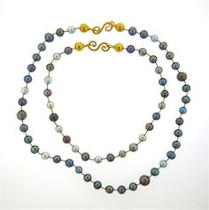 Gurhan 24K Gold Multi color Pearl Necklace Set of 2 Featured in our upcoming auction on August 18!