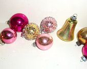 Vintage Glass Christmas Ornament Tree Decoration Shiny Brite Pink and Gold w/ Metal Mesh