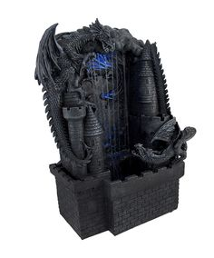 Gothic Dragon Furniture | Medieval Dragon and Castle Tabletop Waterfall Fountain